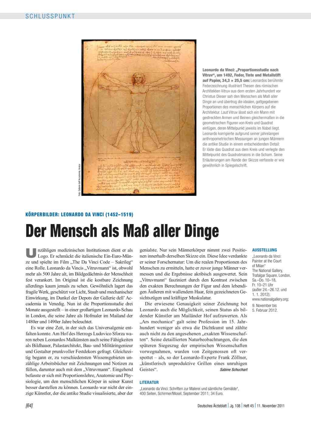 Körperbilder: Leonardo da Vinci (1452–1519) – Der Mensch als Maß ...