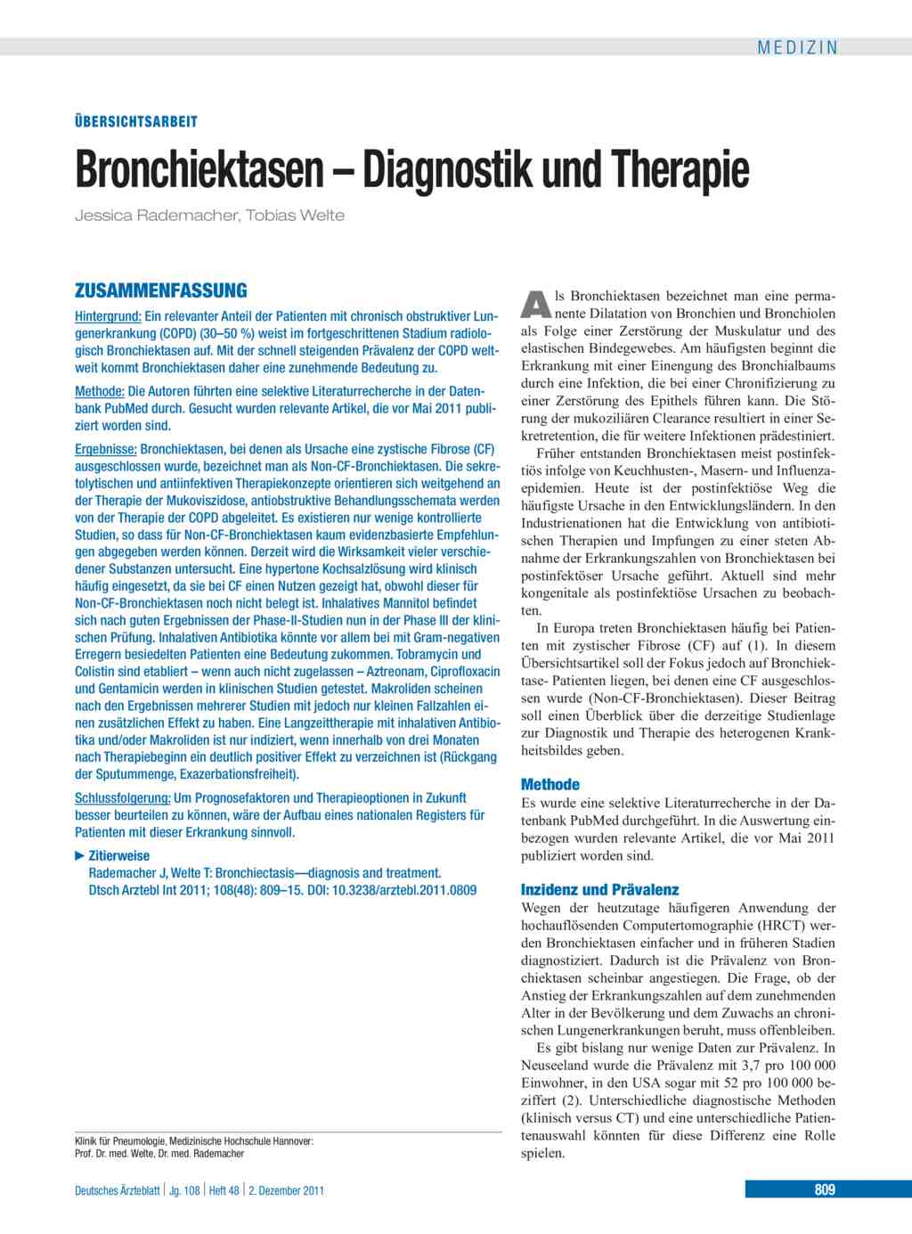 Bronchiektasen – Diagnostik und Therapie