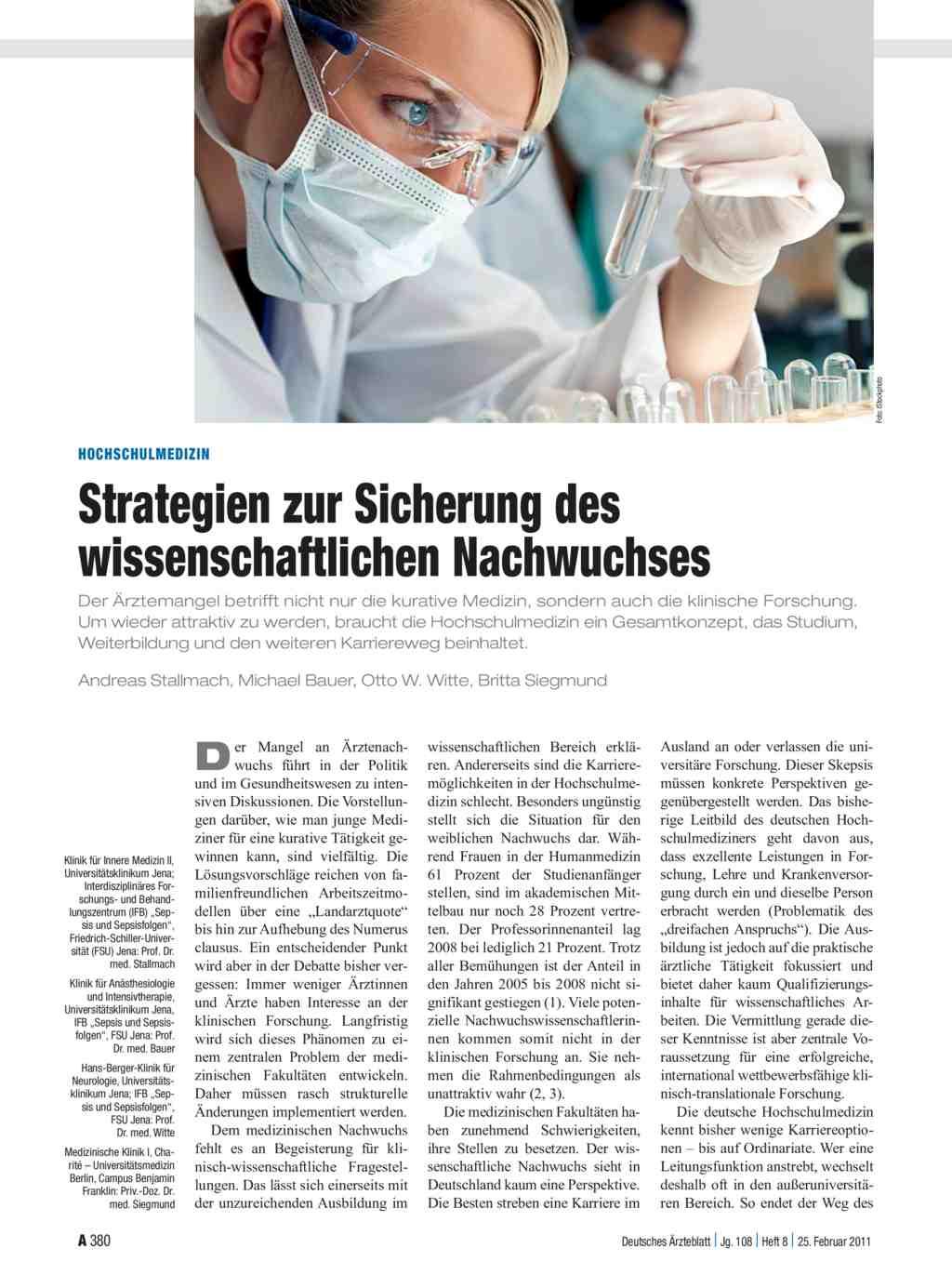 Hochschulmedizin: Strategien zur Sicherung des wissenschaftlichen ...