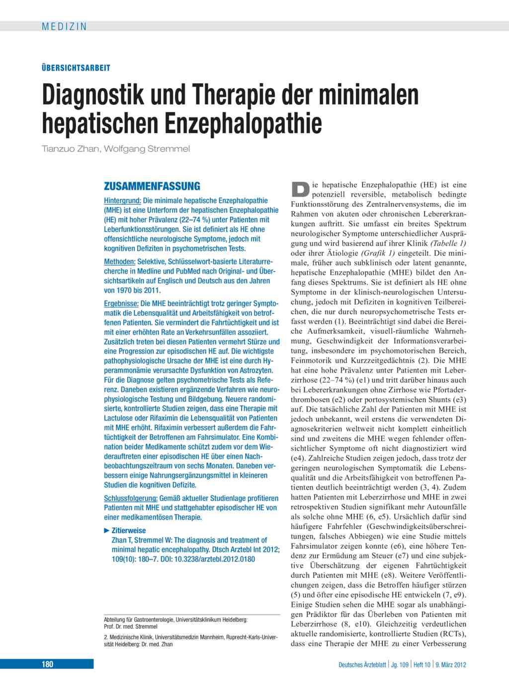 Diagnostik Und Therapie Der Minimalen Hepatischen Enzephalopathie