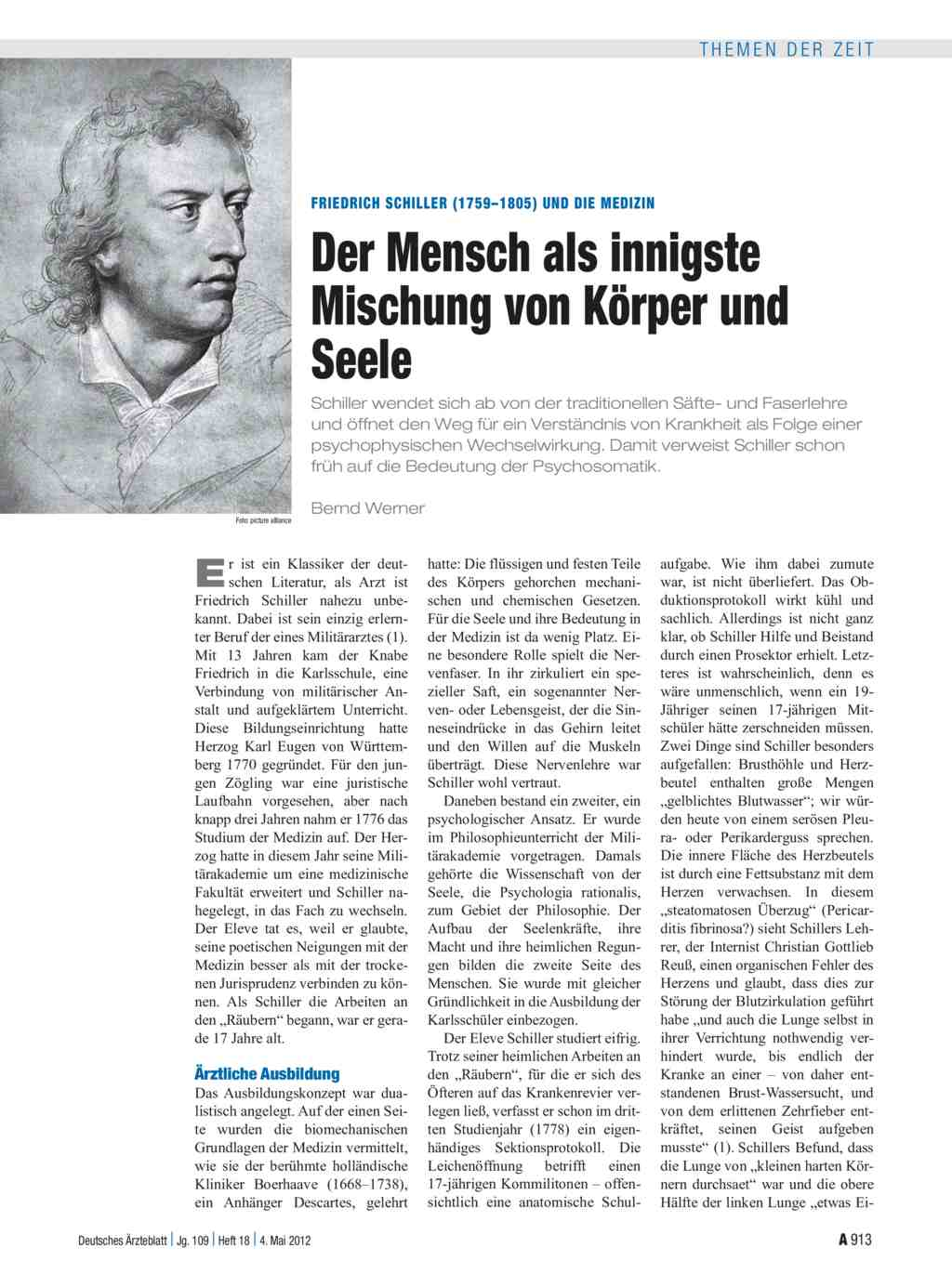 Friedrich Schiller (1759–1805) und die Medizin: Der Mensch als ...