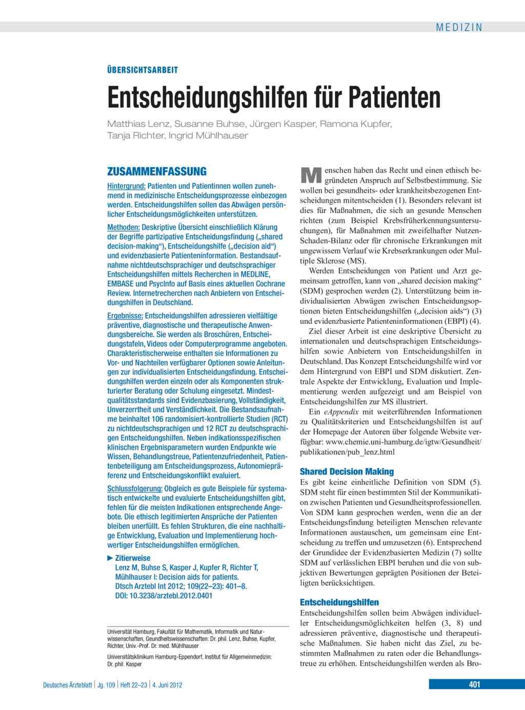 Entscheidungshilfen für Patienten