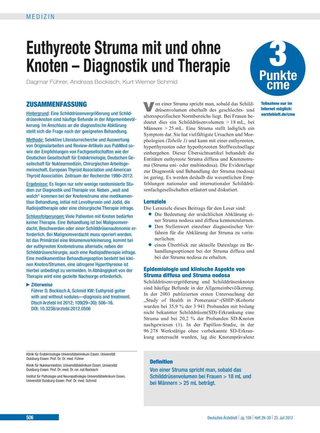 Euthyreote Struma mit und ohne Knoten – Diagnostik und Therapie