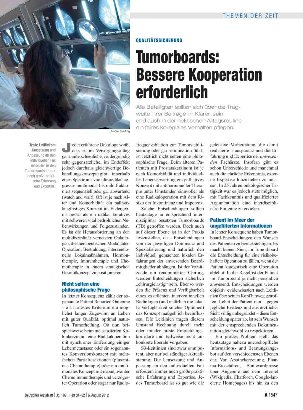 Qualitätssicherung: Tumorboards – Bessere Kooperation erforderlich