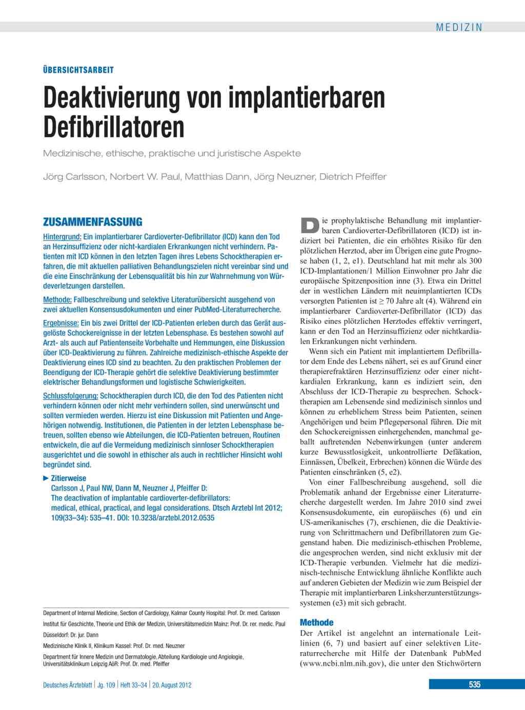 Herzschwäche Lebenserwartung | Deaktivierung Von Implantierbaren Defibrillatoren