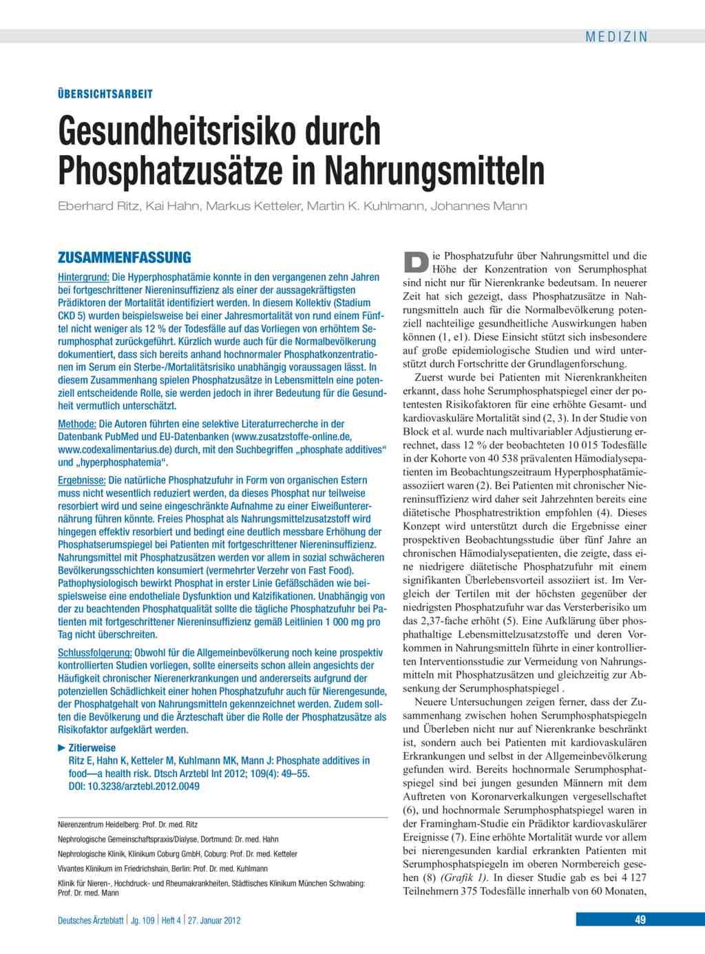 Gesundheitsrisiko durch Phosphatzusätze in Nahrungsmitteln