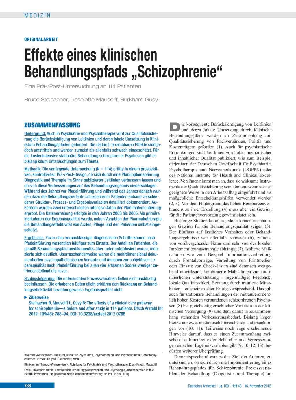 """Effekte eines klinischen Behandlungspfads """"Schizophrenie"""""""
