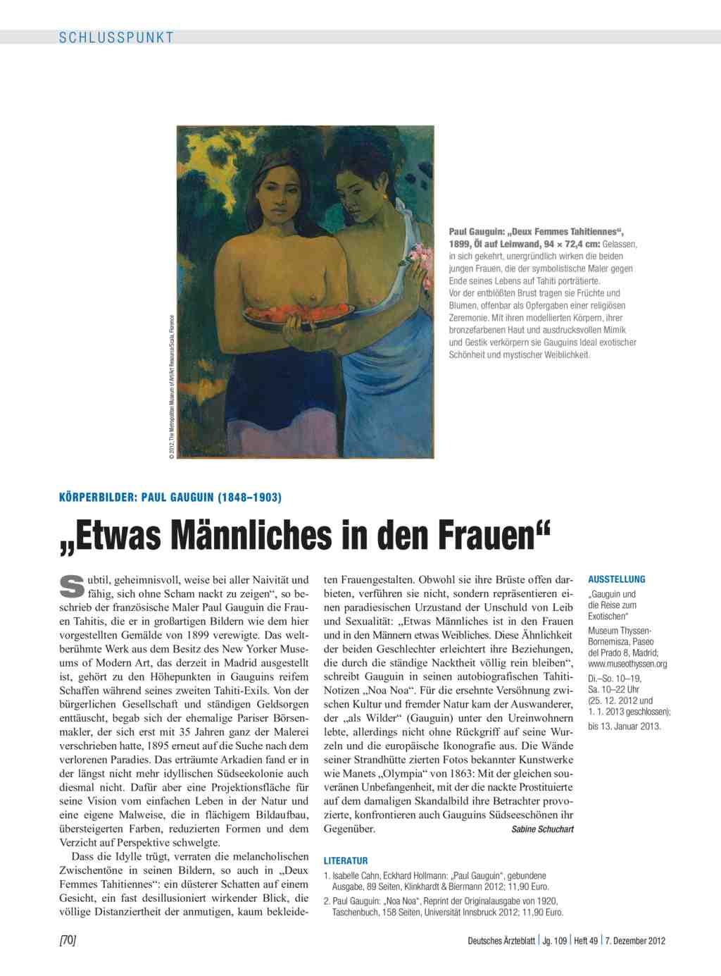 """Körperbilder: Paul Gauguin (1848–1903) – """"Etwas Männliches in den ..."""