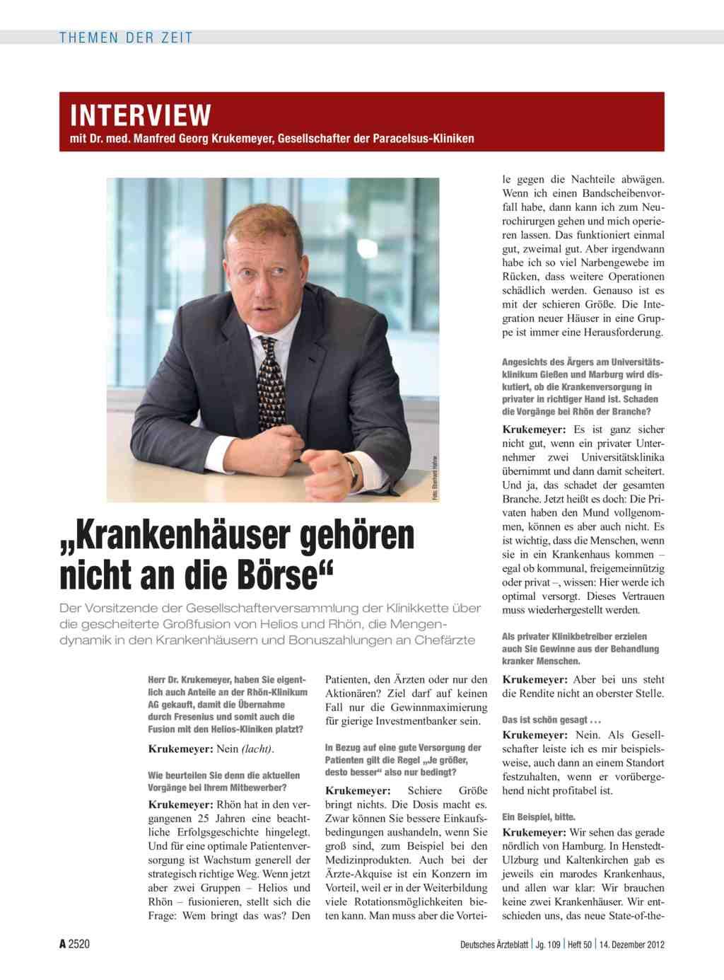 Interview Mit Dr Med Manfred Georg Krukemeyer Gesellschafter Der