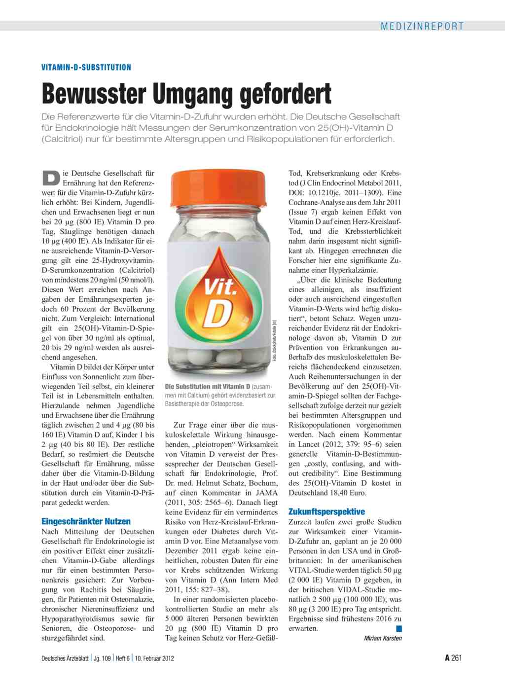 Vitamin D Substitution Bewusster Umgang Gefordert