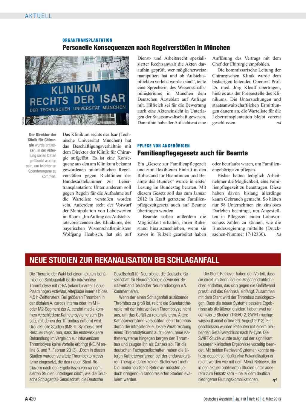Neue Studien Zur Rekanalisation Bei Schlaganfall