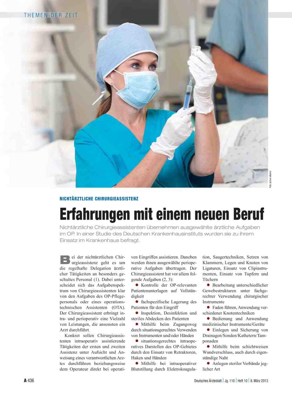Nichtärztliche Chirurgieassistenz: Erfahrungen mit einem neuen Beruf