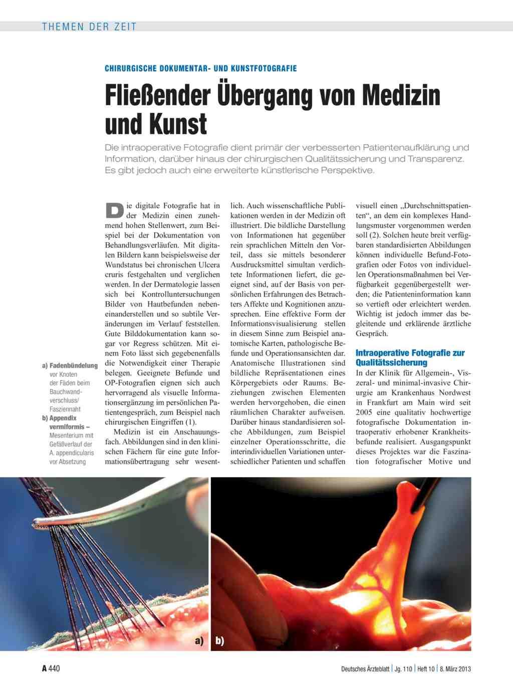 Chirurgische Dokumentar- und Kunstfotografie: Fließender Übergang ...