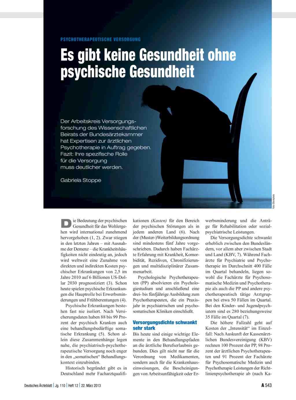 Psychotherapeutische Versorgung: Es gibt keine Gesundheit ohne ...