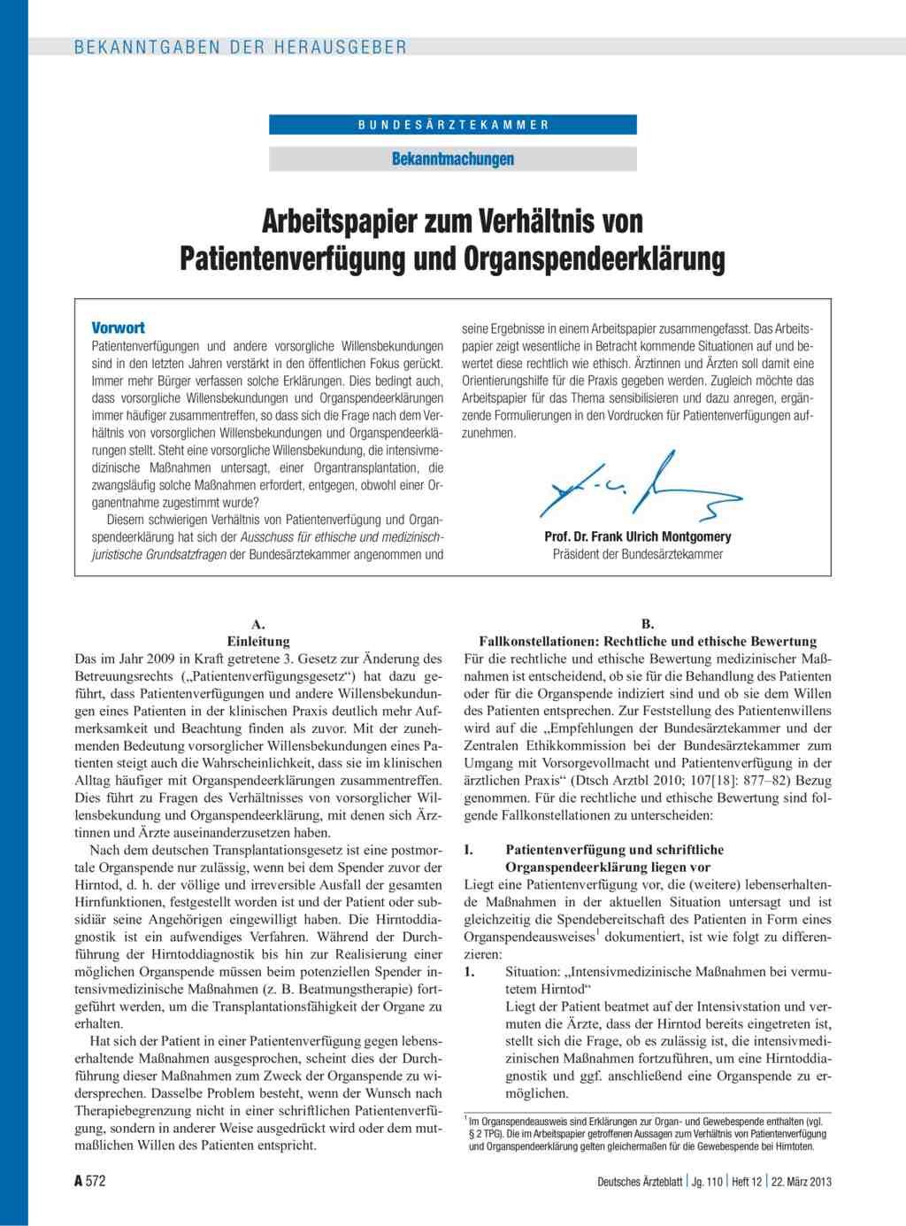 Arbeitspapier zum Verhältnis von Patientenverfügung und ...