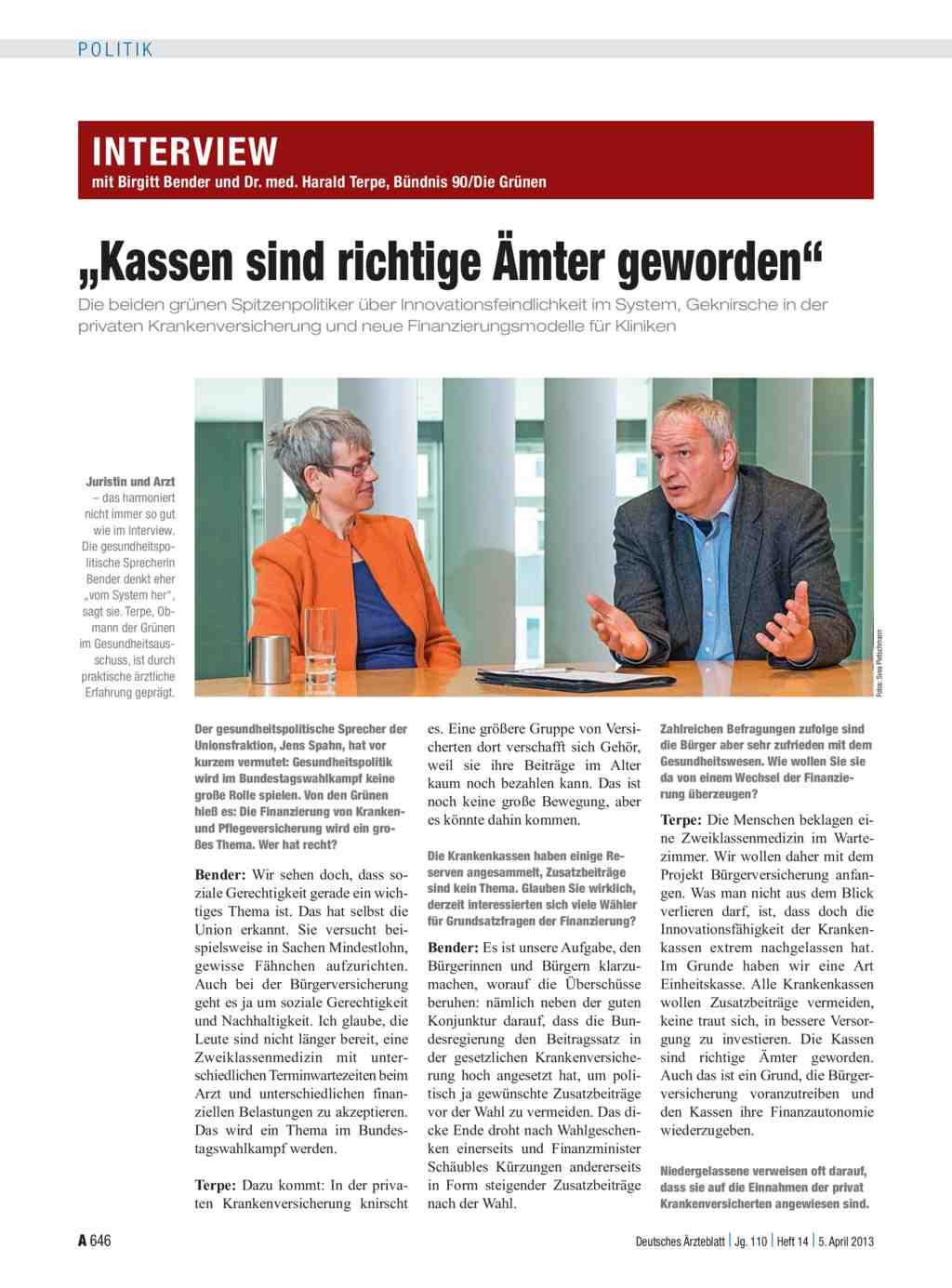 Interview mit Birgitt Bender und Dr. med. Harald Terpe, Bündnis 90 ...