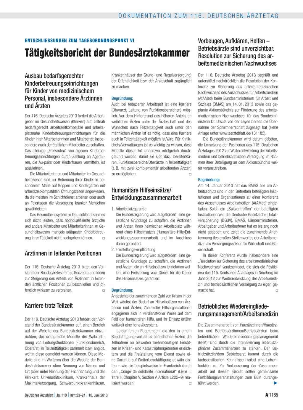 Entschliessungen zum Tagesordnungspunkt VI: Tätigkeitsbericht der  Bundesärztekammer