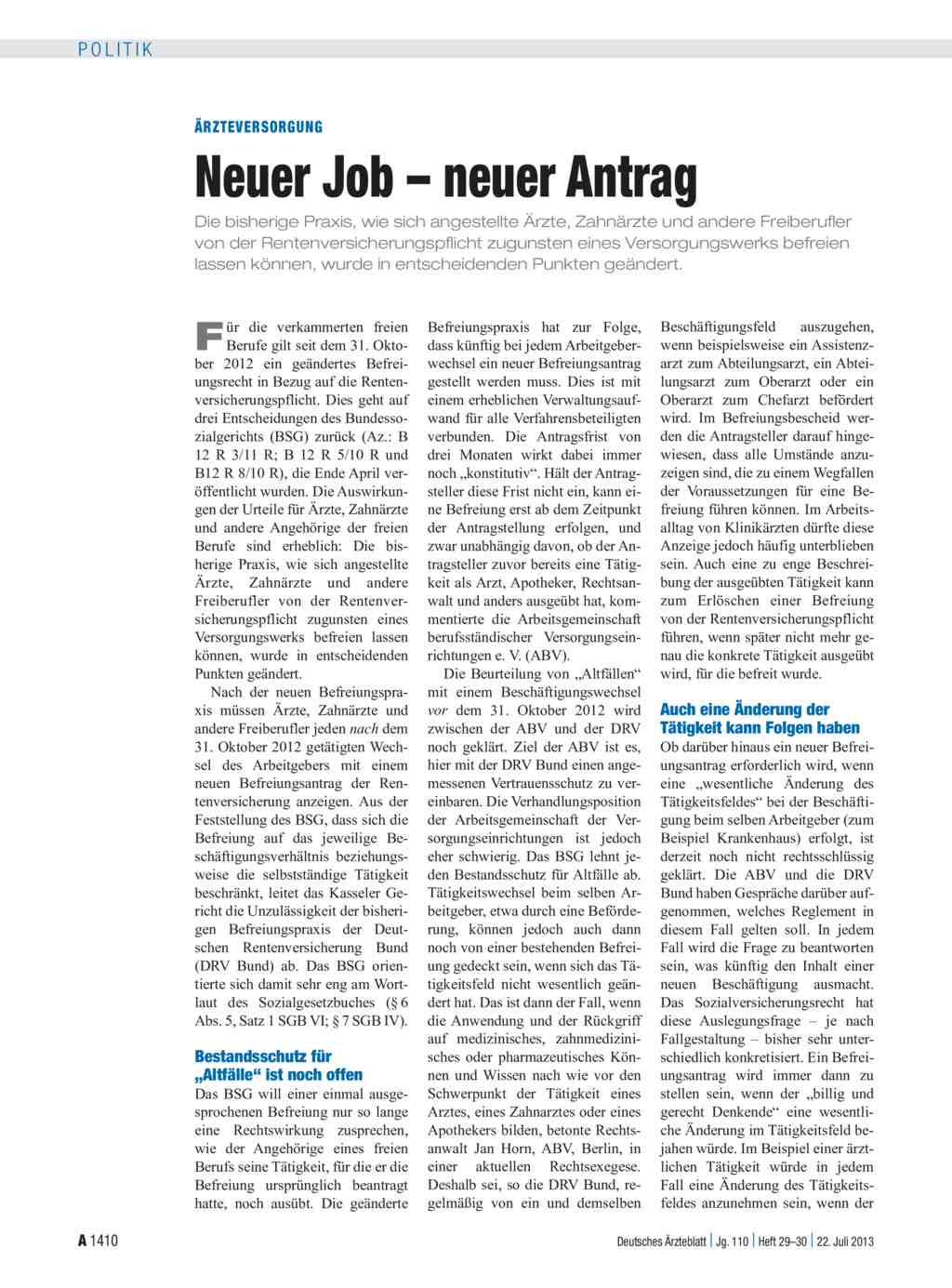 ärzteversorgung Neuer Job Neuer Antrag