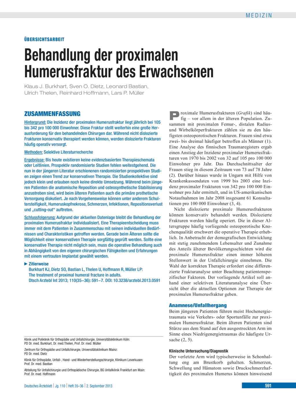 Behandlung der proximalen Humerusfraktur des Erwachsenen