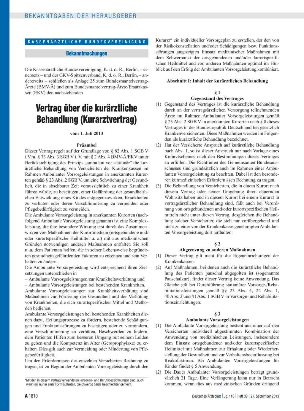 Vertrag über Die Kurärztliche Behandlung Kurarztvertrag
