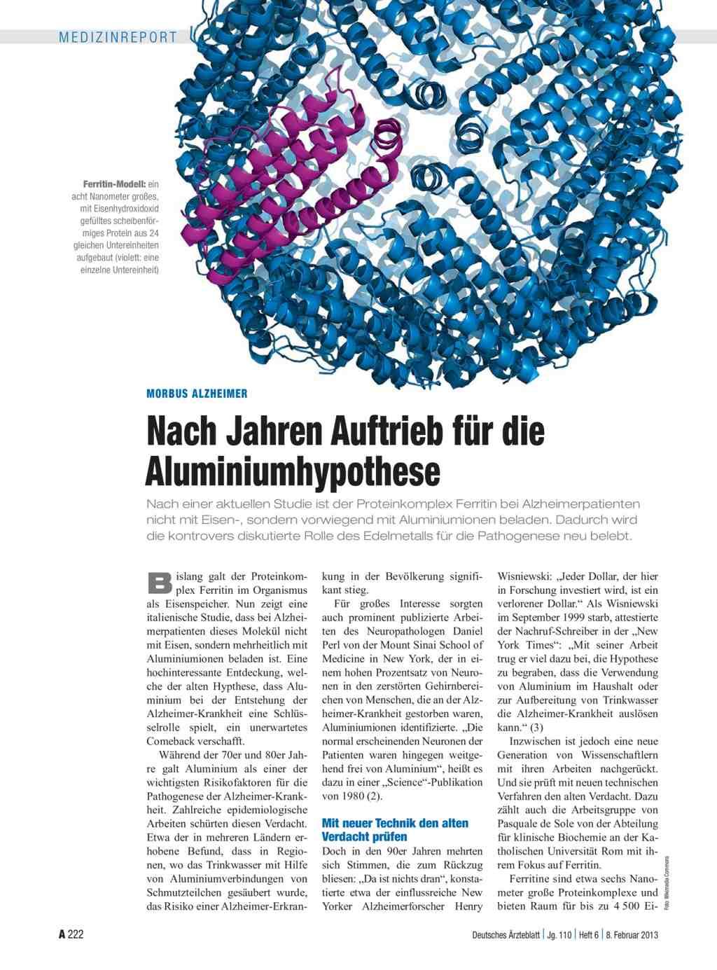 Morbus Alzheimer: Nach Jahren Auftrieb für die Aluminiumhypothese