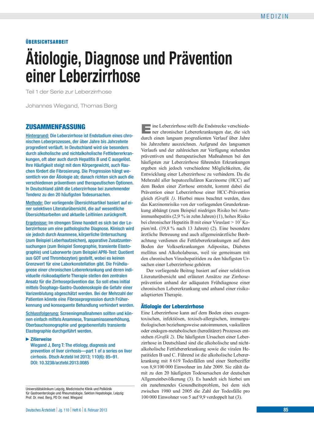 ätiologie Diagnose Und Prävention Einer Leberzirrhose