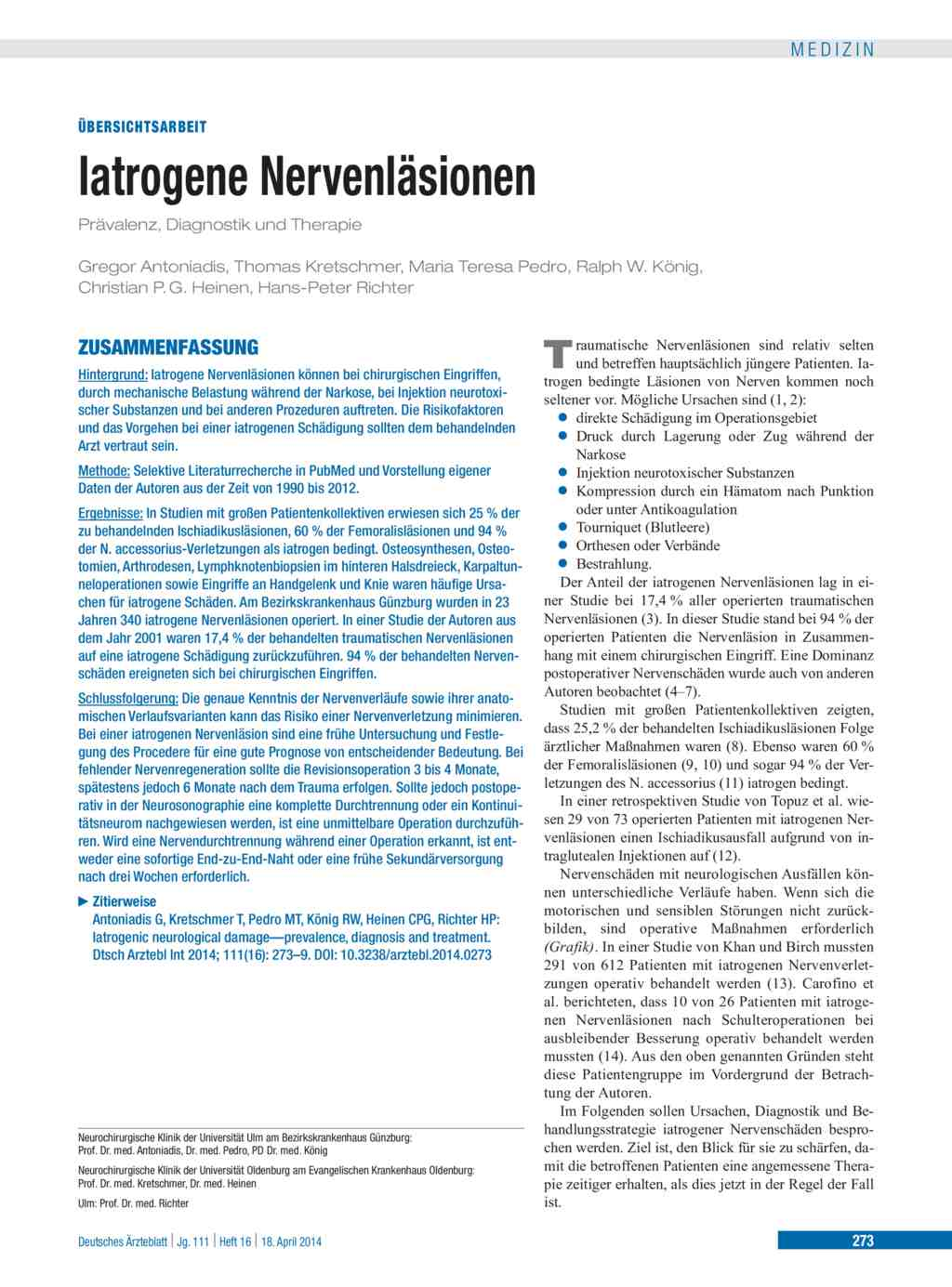 Iatrogene Nervenläsionen