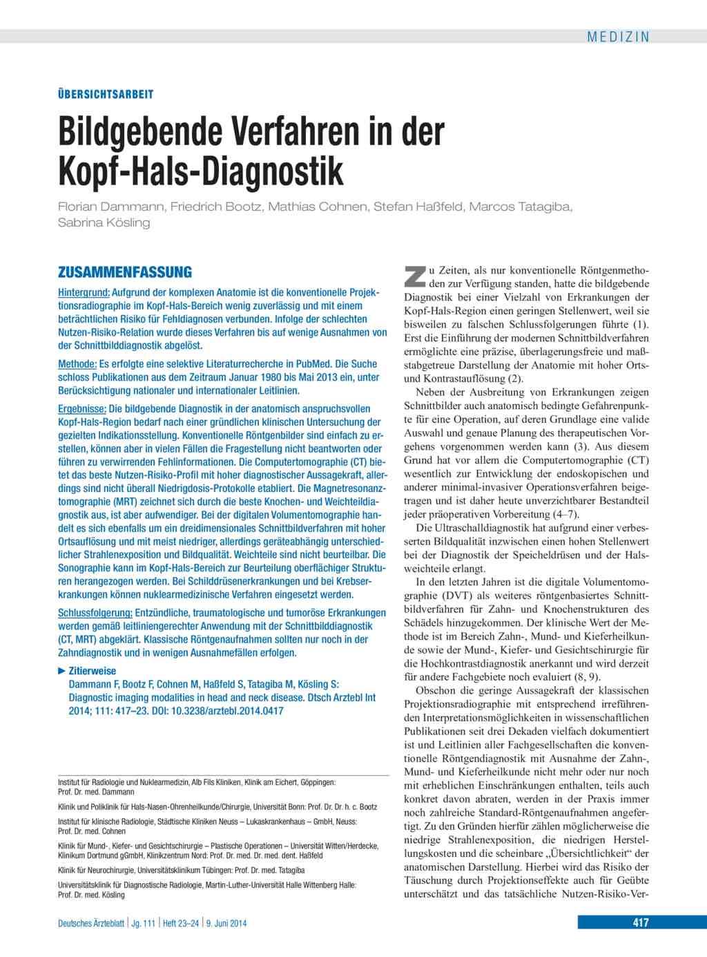 Bildgebende Verfahren in der Kopf-Hals-Diagnostik