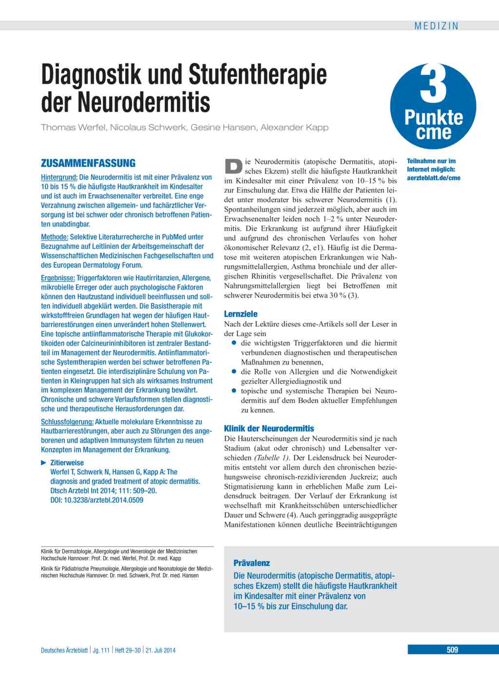 Diagnostik und Stufentherapie der Neurodermitis