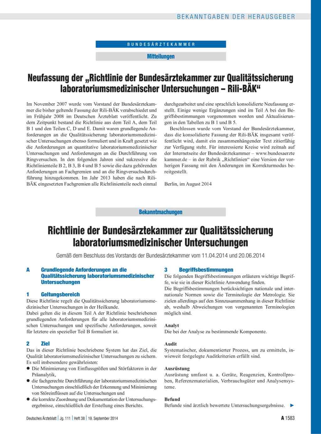 neufassung der richtlinie der bundesrztekammer zur qualittssicherung laboratoriumsmedizinischer untersuchungen rili bk richtlinie der - Verbrauchsguter Beispiele