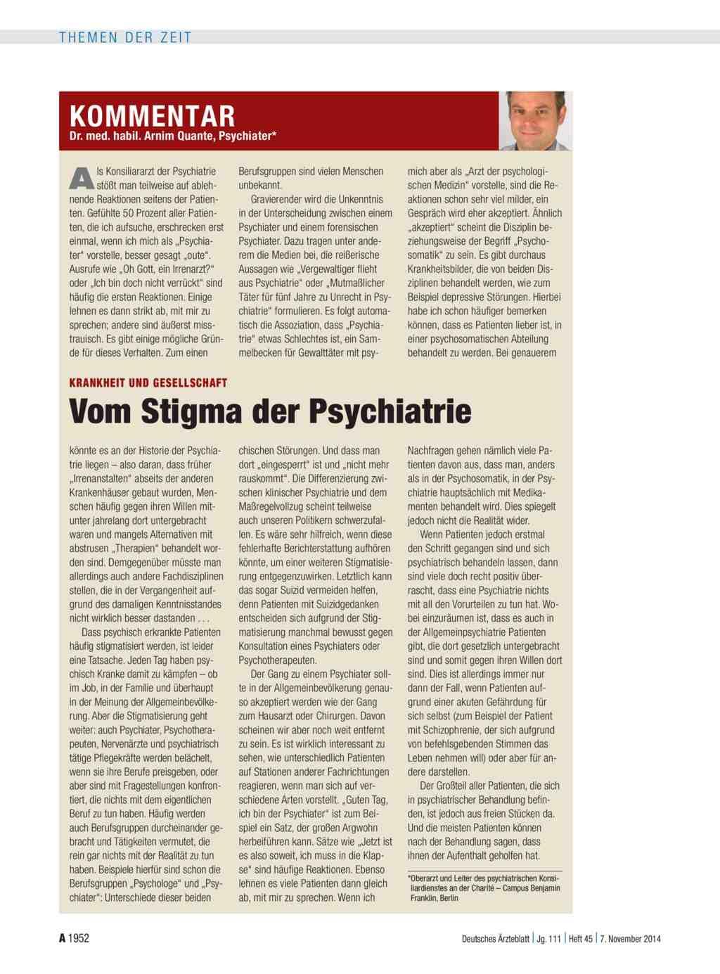 Krankheit und Gesellschaft: Vom Stigma der Psychiatrie