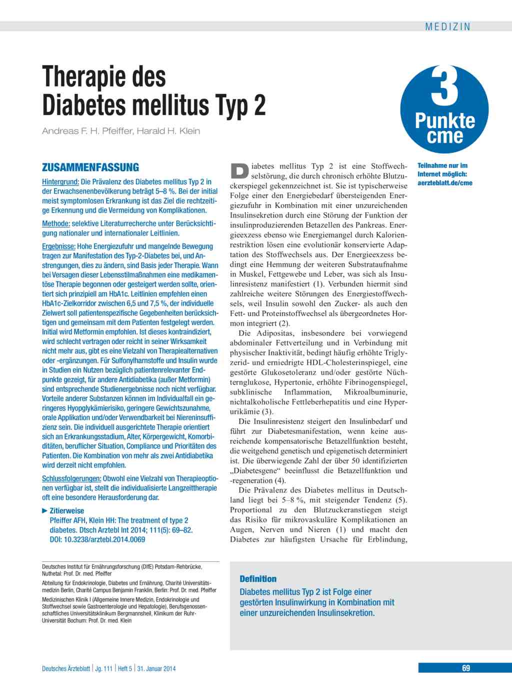 Therapie des Diabetes mellitus Typ 2