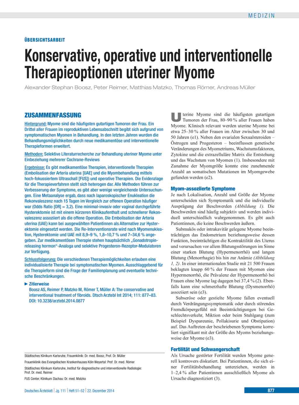 Konservative, operative und interventionelle Therapieoptionen uteriner Myome