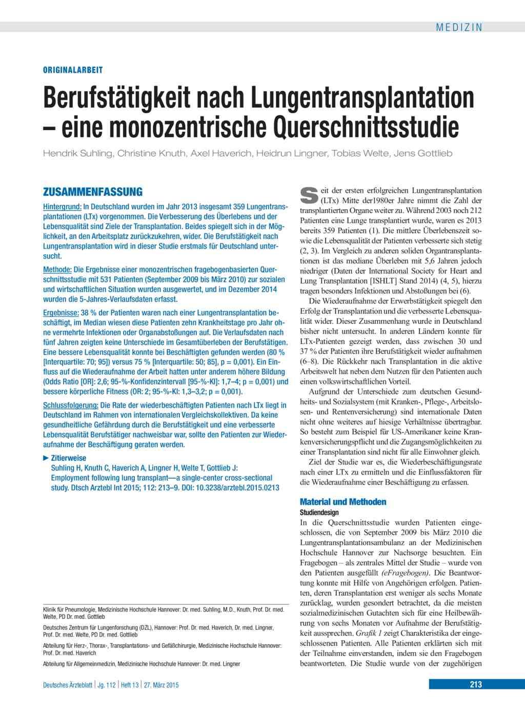 Berufstätigkeit nach Lungentransplantation – eine monozentrische ...