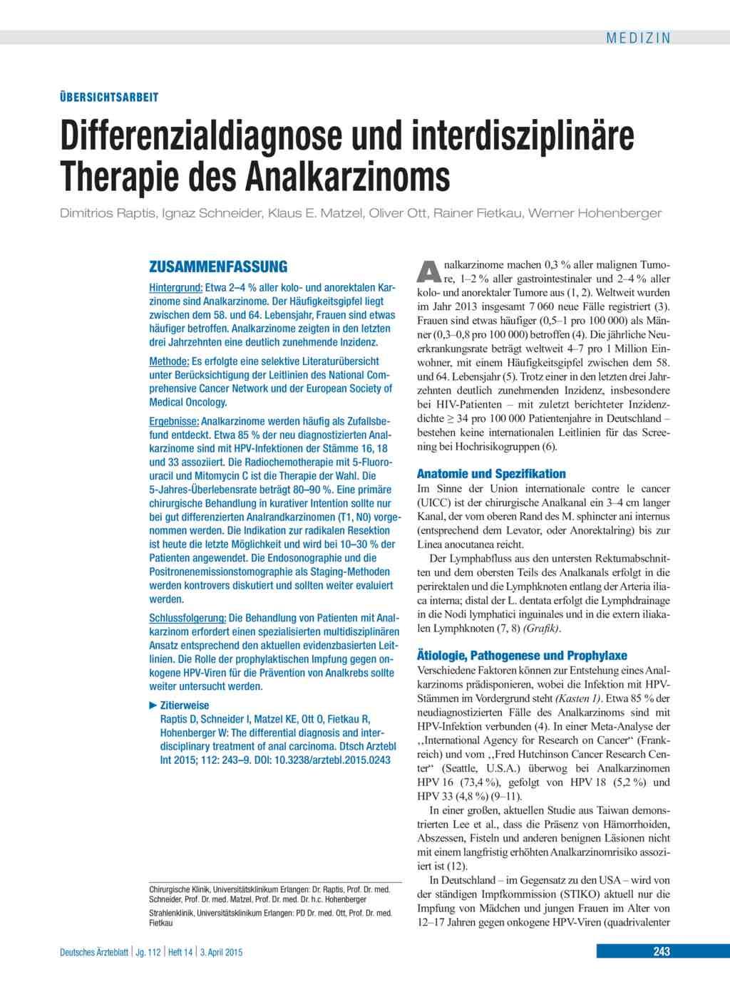 Differenzialdiagnose und interdisziplinäre Therapie des Analkarzinoms