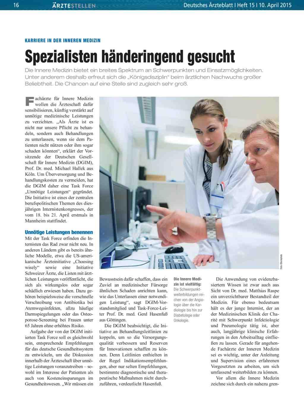 Karriere in der inneren medizin spezialisten h nderingend gesucht for Medizin studieren schweiz