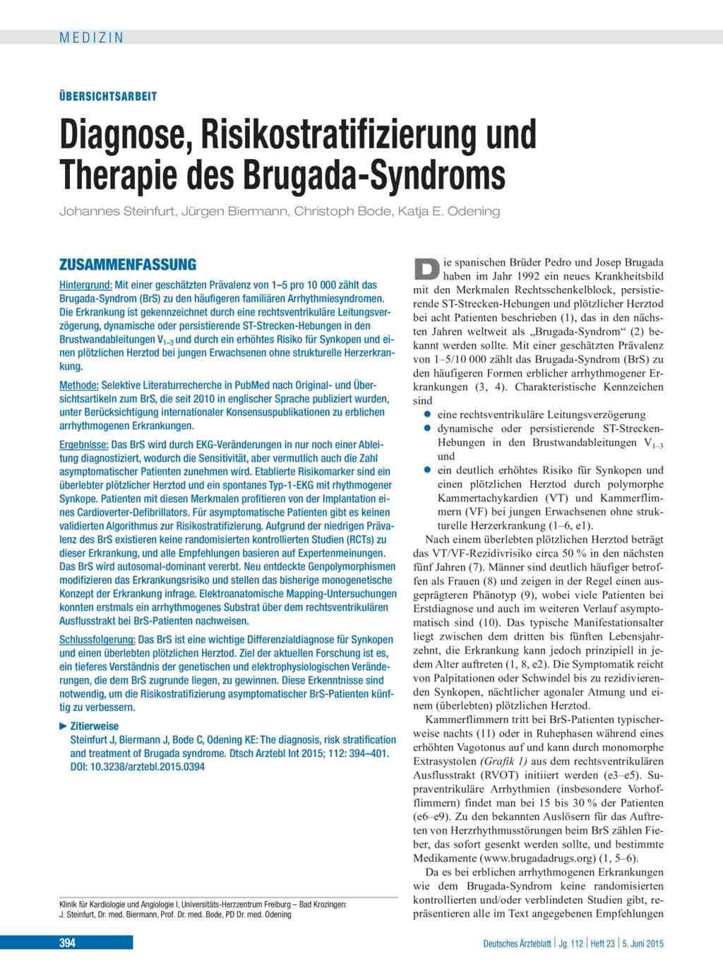 Diagnose, Risikostratifizierung und Therapie des Brugada-Syndroms