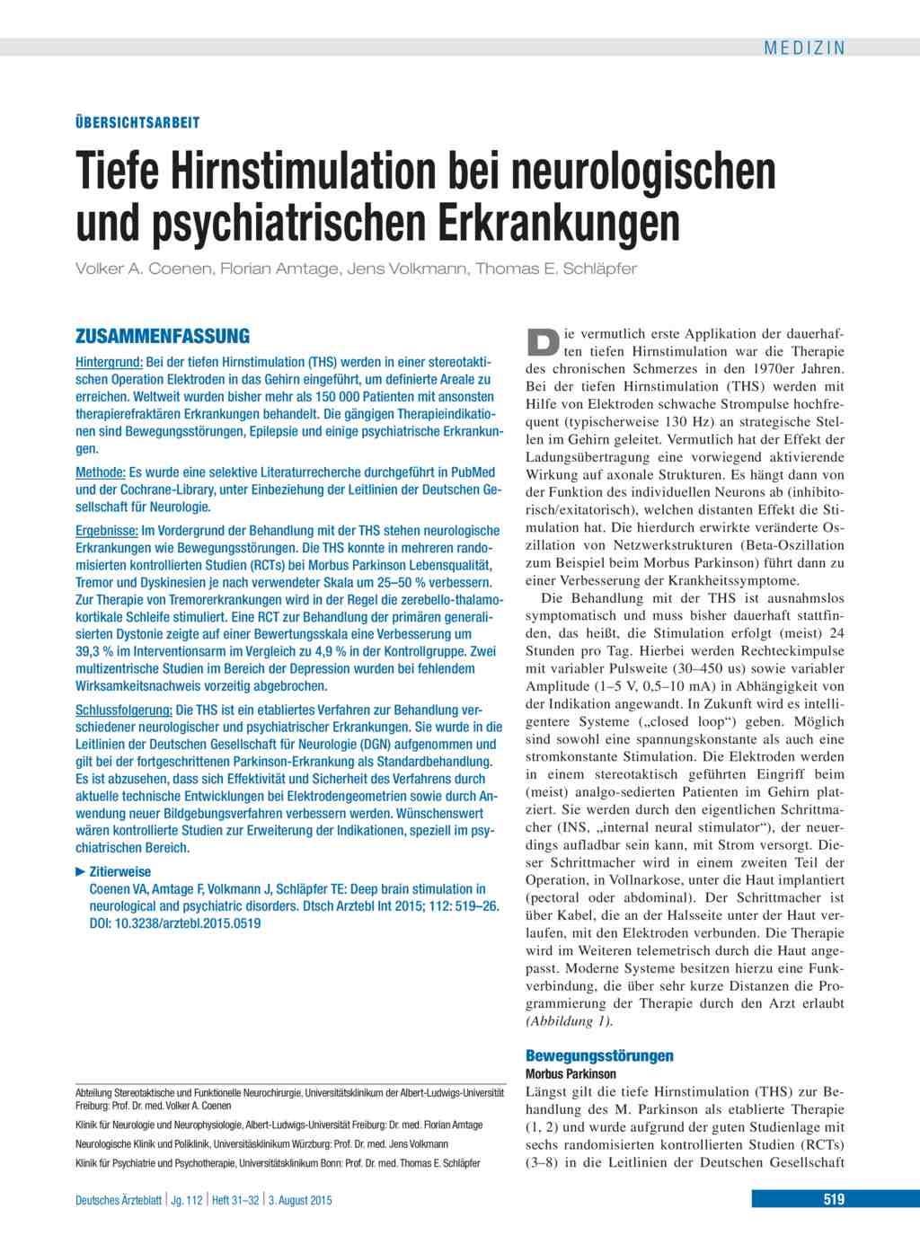 Tiefe Hirnstimulation bei neurologischen und psychiatrischen ...