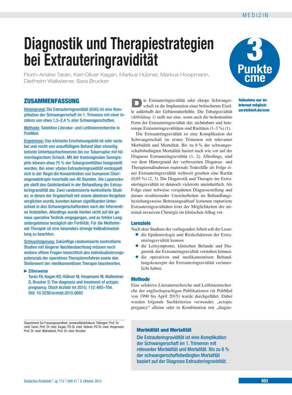 Diagnostik und Therapiestrategien bei Extrauteringravidität