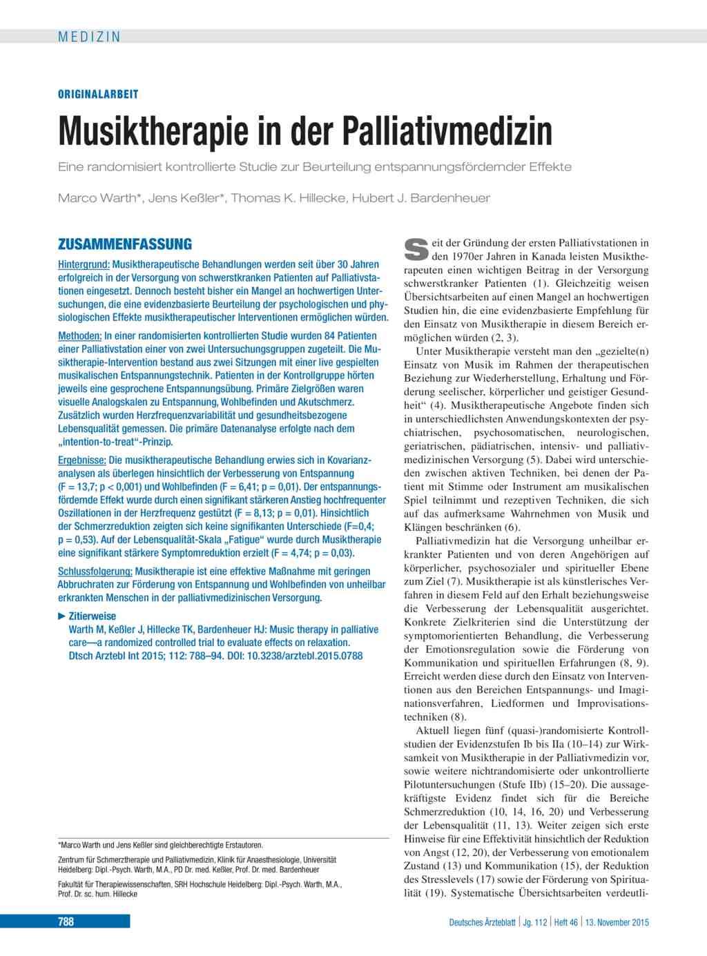 Musiktherapie in der palliativmedizin for Medizin studieren schweiz