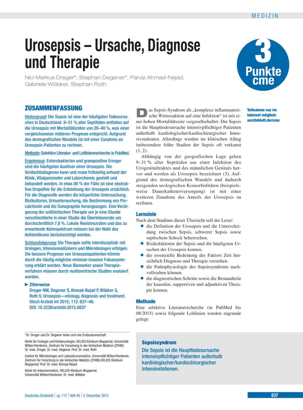 Urosepsis – Ursache, Diagnose und Therapie