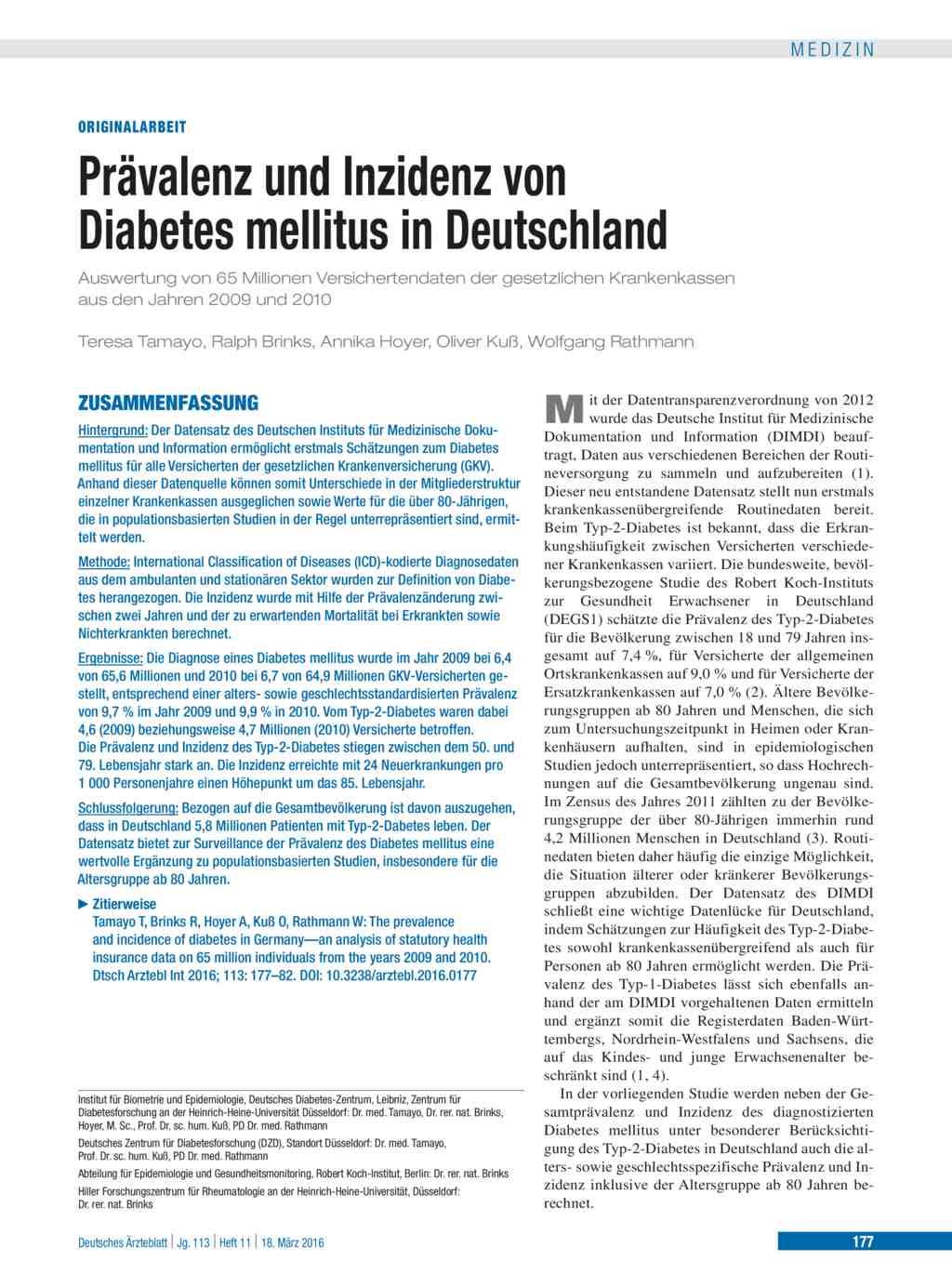 Prävalenz und Inzidenz von Diabetes mellitus in Deutschland
