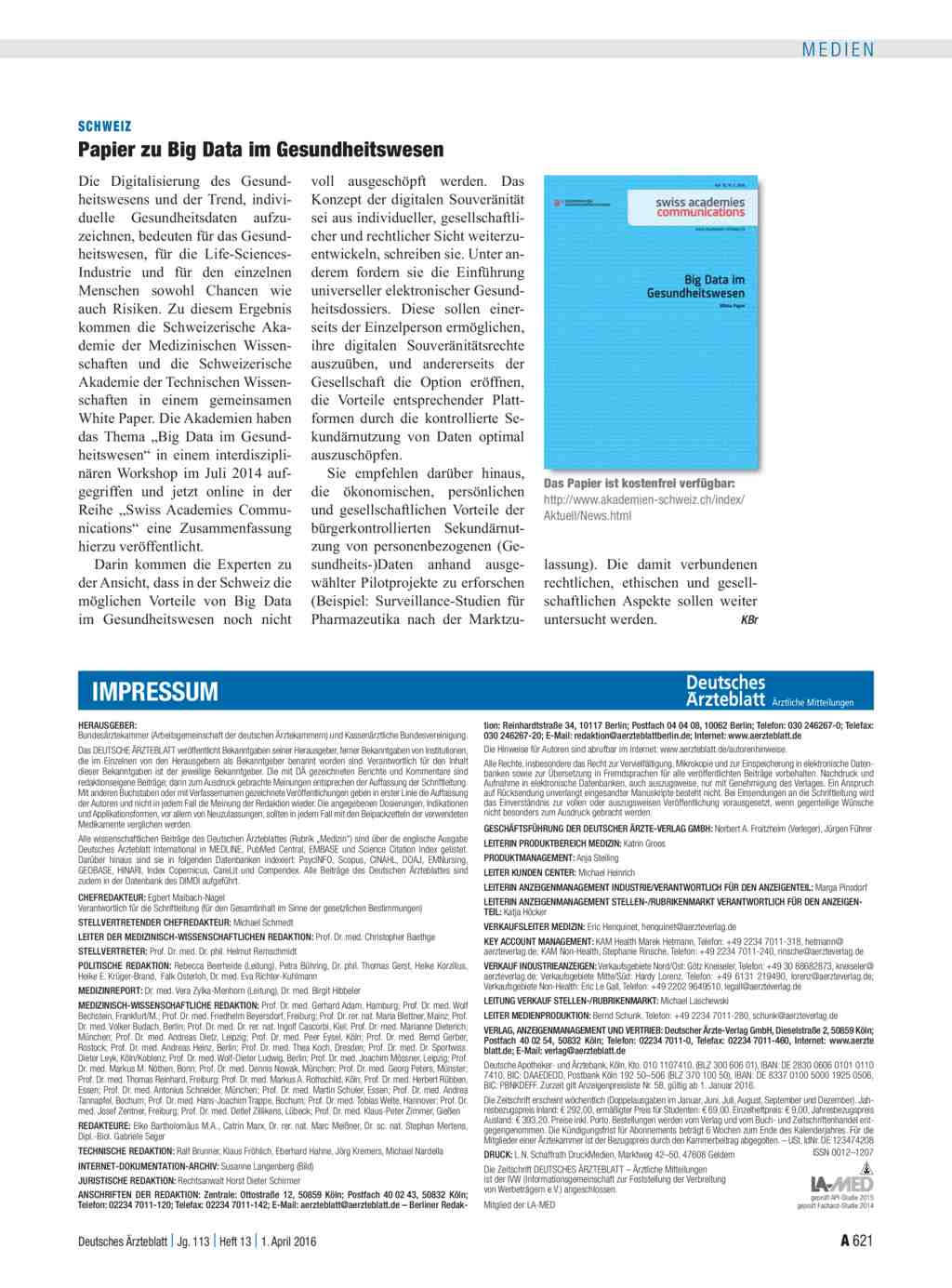 Schweiz papier zu big data im gesundheitswesen for Medizin studieren schweiz