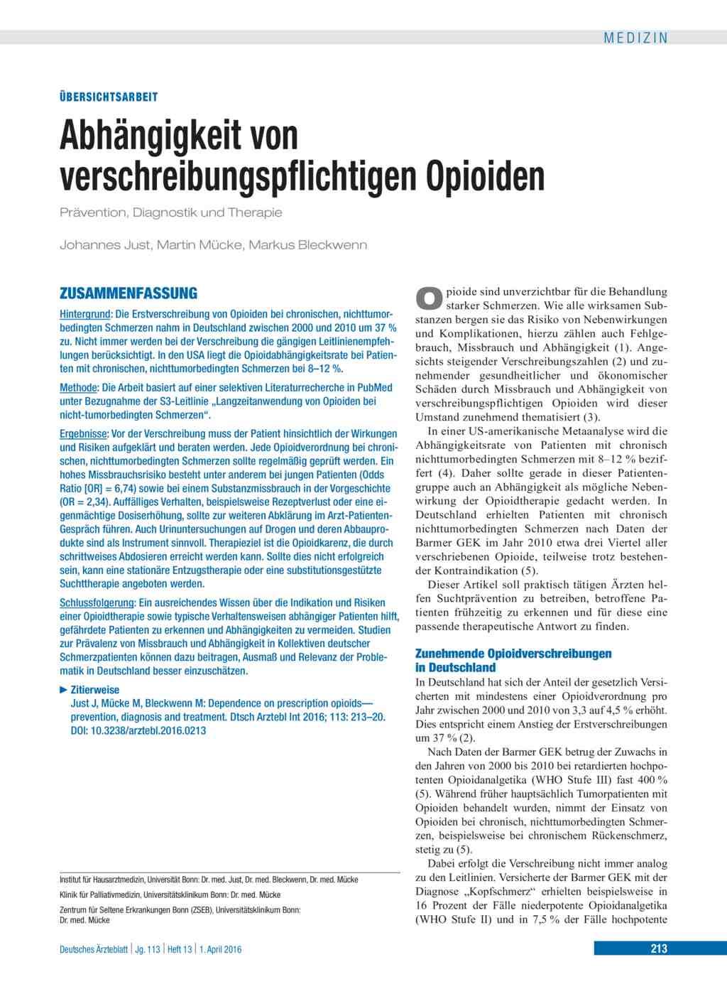 Abhangigkeit Von Verschreibungspflichtigen Opioiden