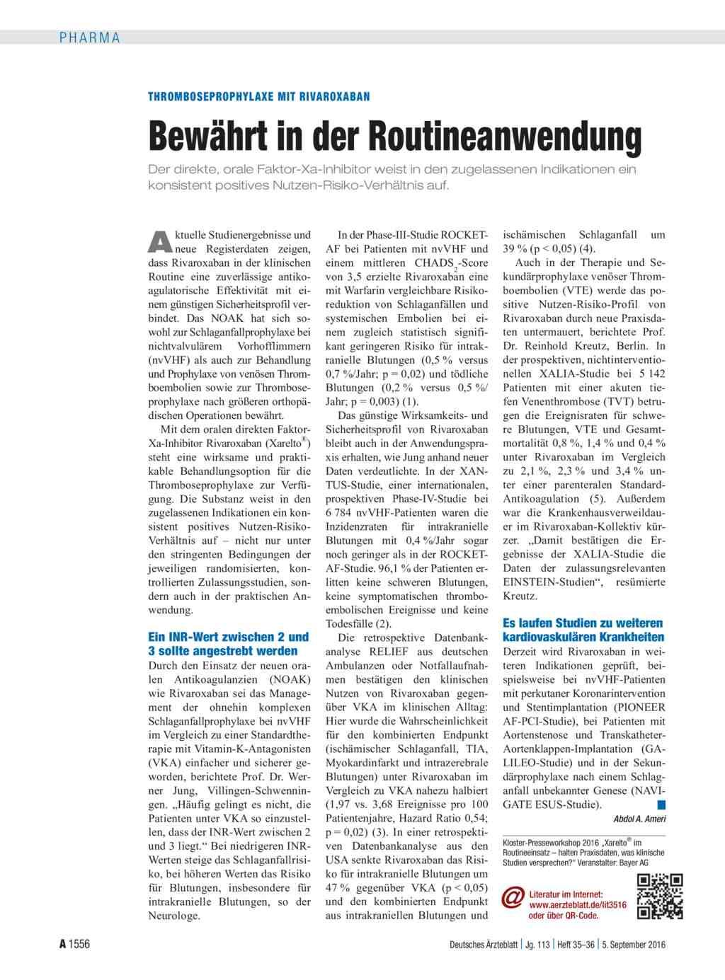 Thromboseprophylaxe mit rivaroxaban bew hrt in der for Medizin studieren schweiz