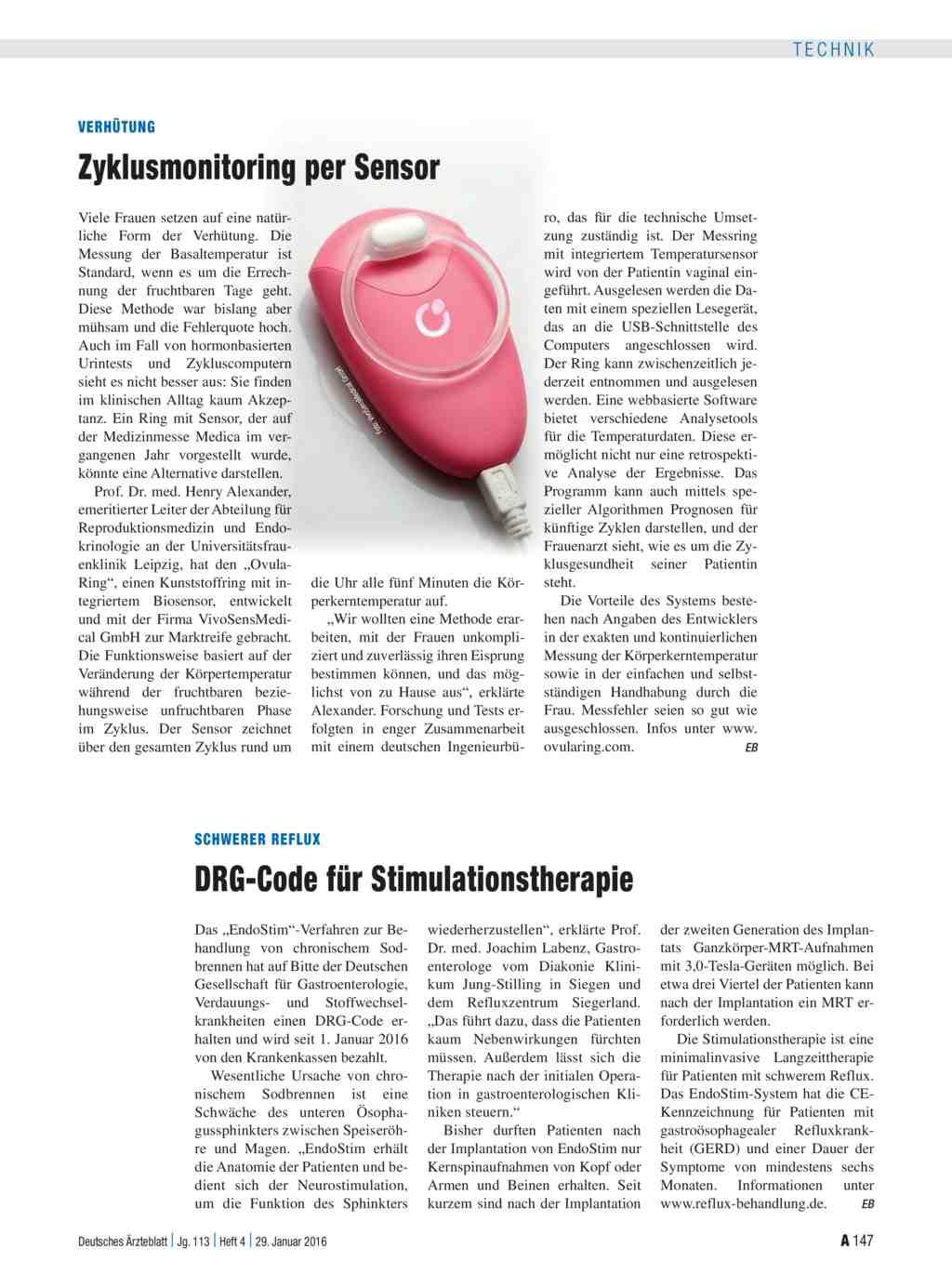 Schwerer Reflux: DRG-Code für Stimulationstherapie