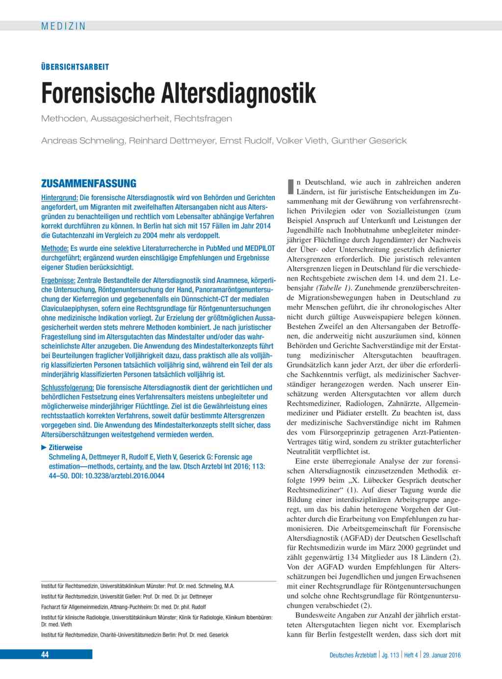 Forensische Altersdiagnostik