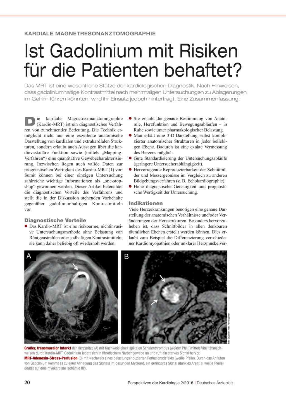 Kardiale Magnetresonanztomographie: Ist Gadolinium mit Risiken für ...