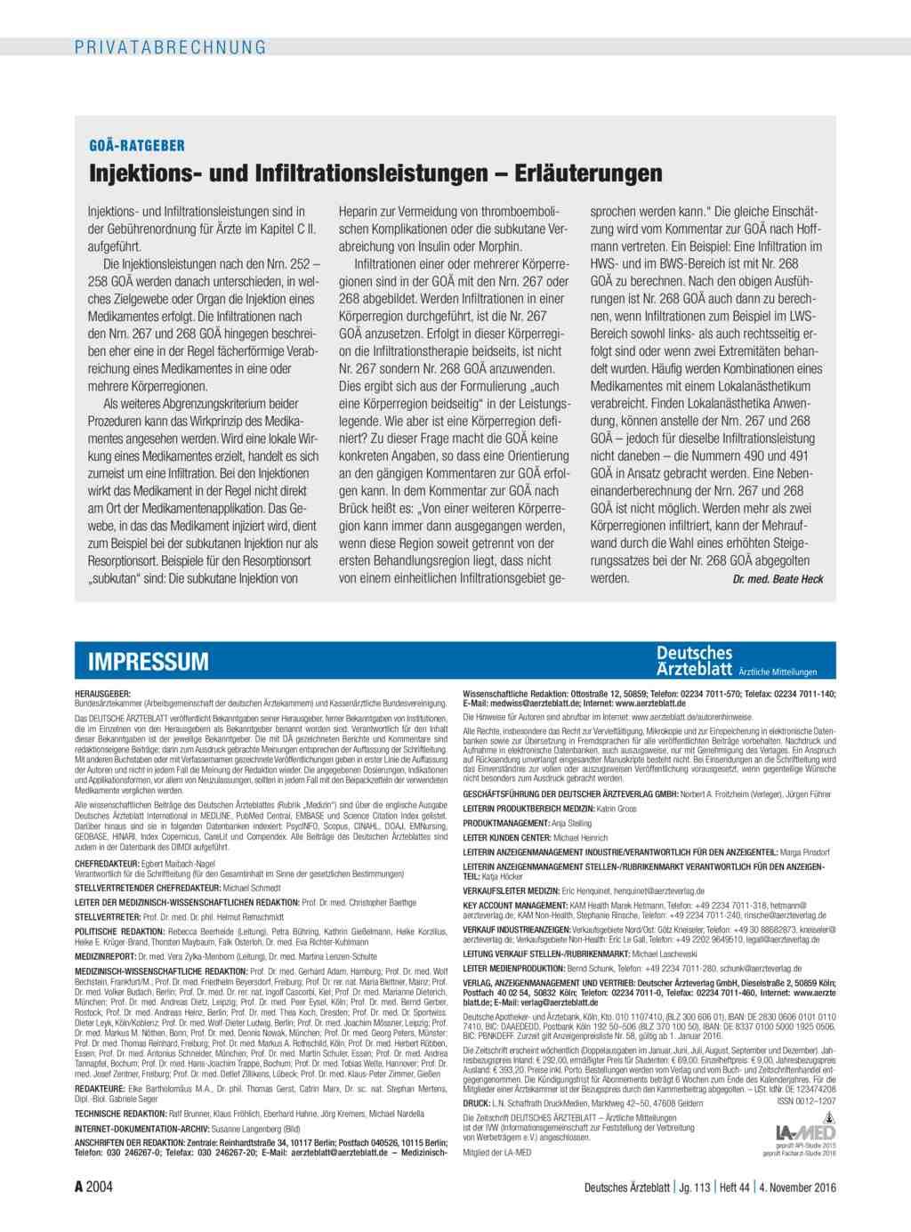 Goä Ratgeber Injektions Und Infiltrationsleistungen Erläuterungen