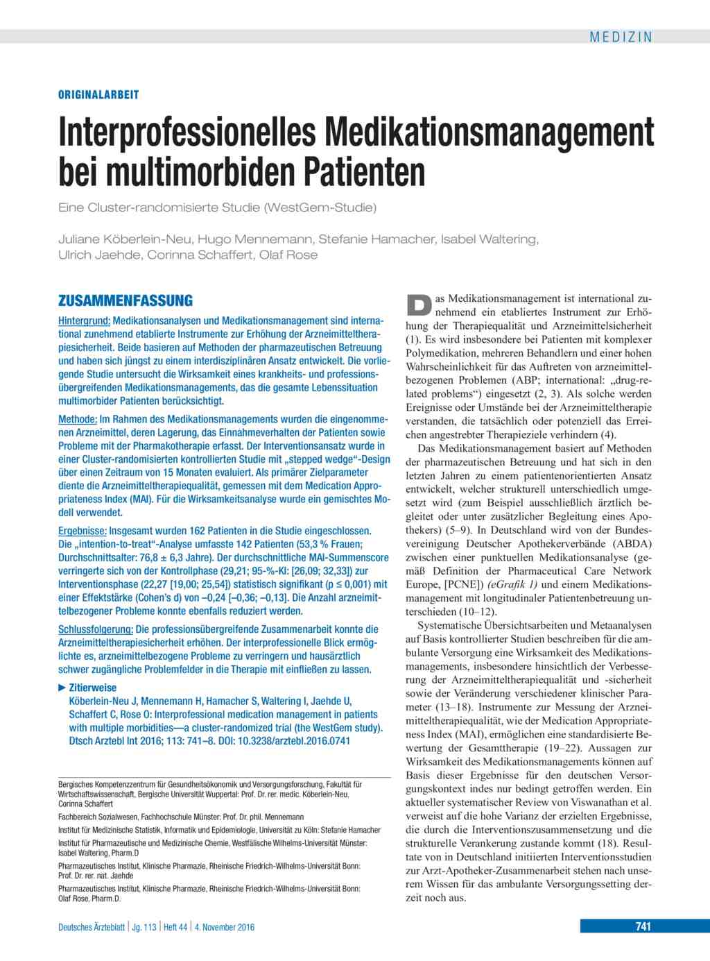 Interprofessionelles Medikationsmanagement bei multimorbiden Patienten